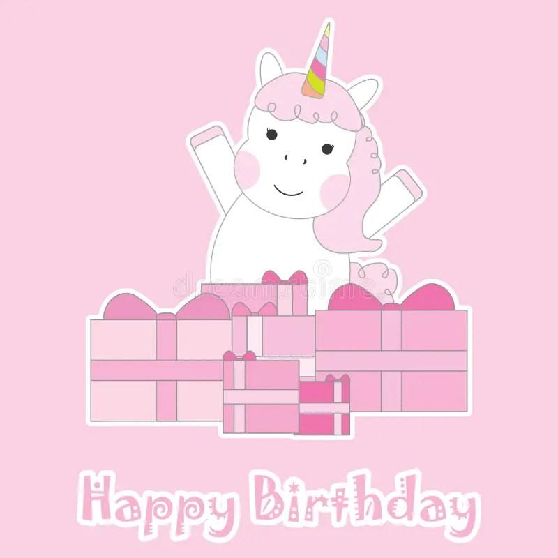 birthday card with cute unicorn girl