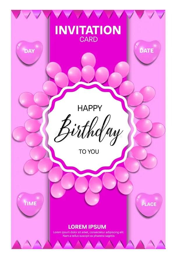 birthday invitation card with pink