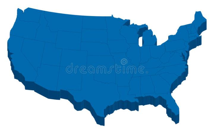 Black USA Map With States In 3 Dimension Stock Illustration     Download Black USA Map With States In 3 Dimension Stock Illustration    Illustration of northern