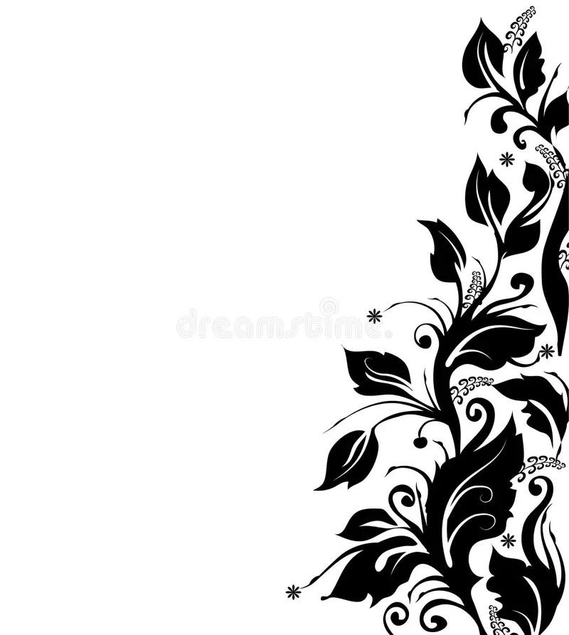 Floral Border Flower And Black White