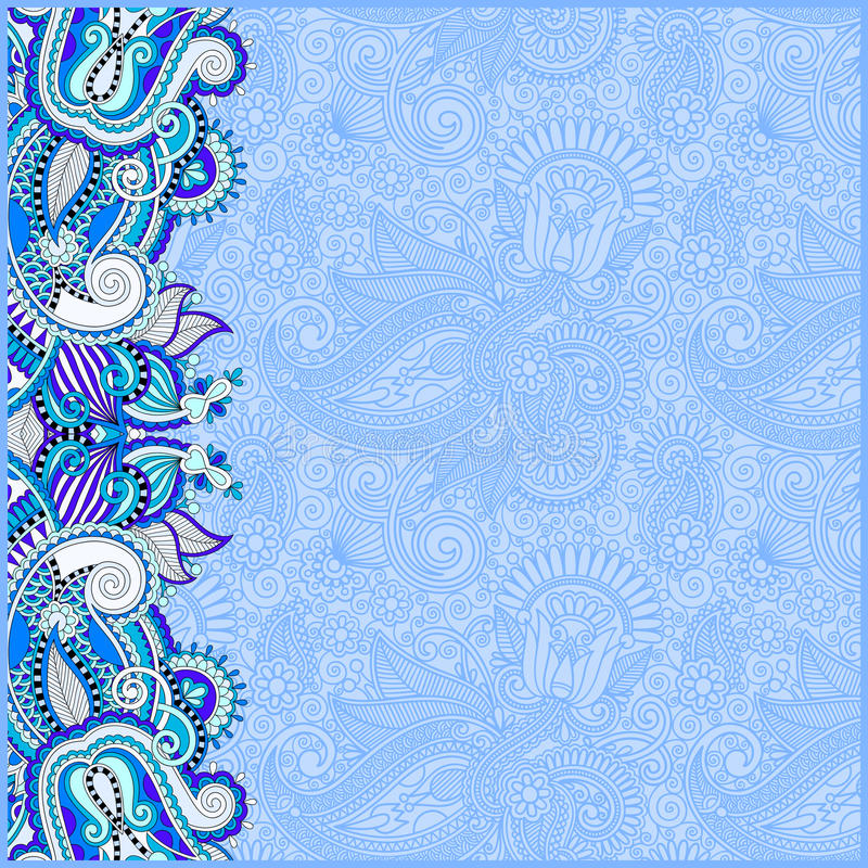 blue invitation card with ethnic