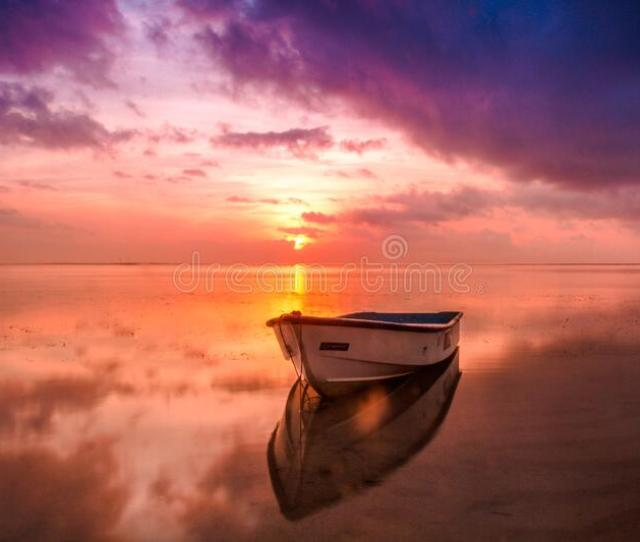 Boat On Sea In Magical Dawn Colors Free Public Domain Cc Image