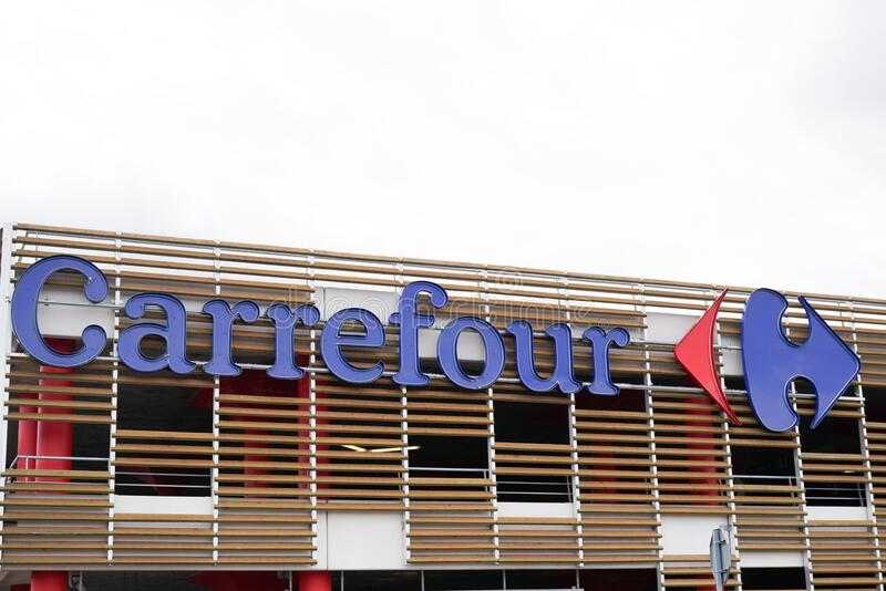 front of a carrefour market expres editorial photography image of february hypermarket 171294422