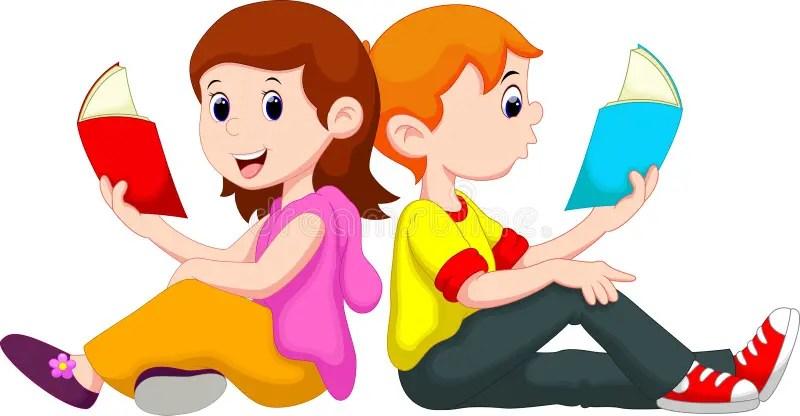 Boy And Girl Reading Book Stock Illustration. Illustration
