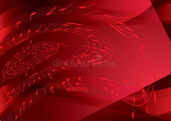 Bright Red Vector Background With Music Notes Stock Vector ...