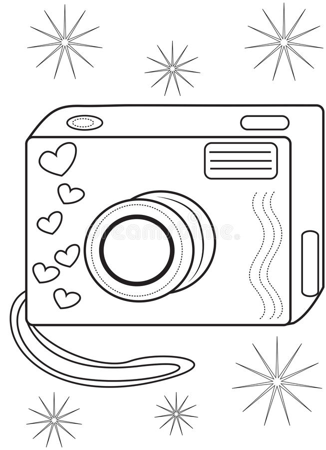 camera coloring page stock illustration. image of cute