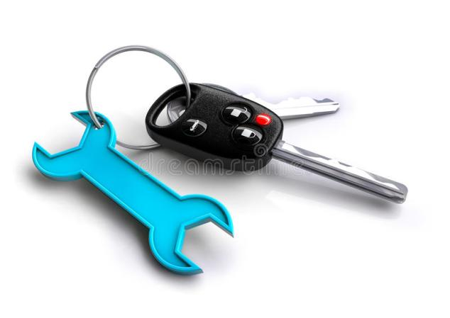 Car Keys With Spanner Icon Keyring Concept For Vehicle