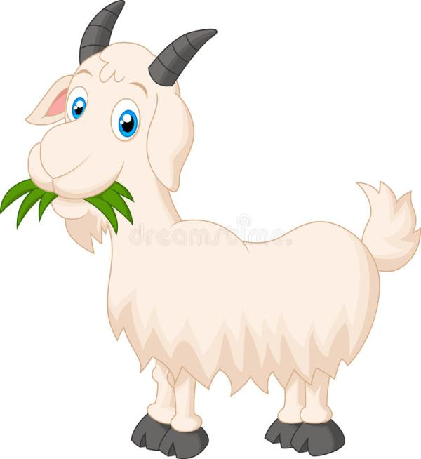 Cartoon goat eating grass stock vector Illustration of