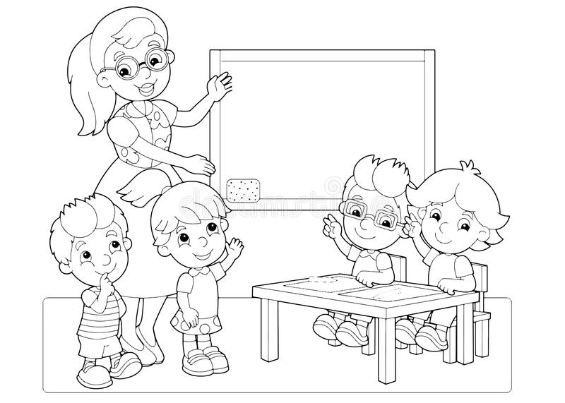 cartoon scene  children and teacher in the classroom