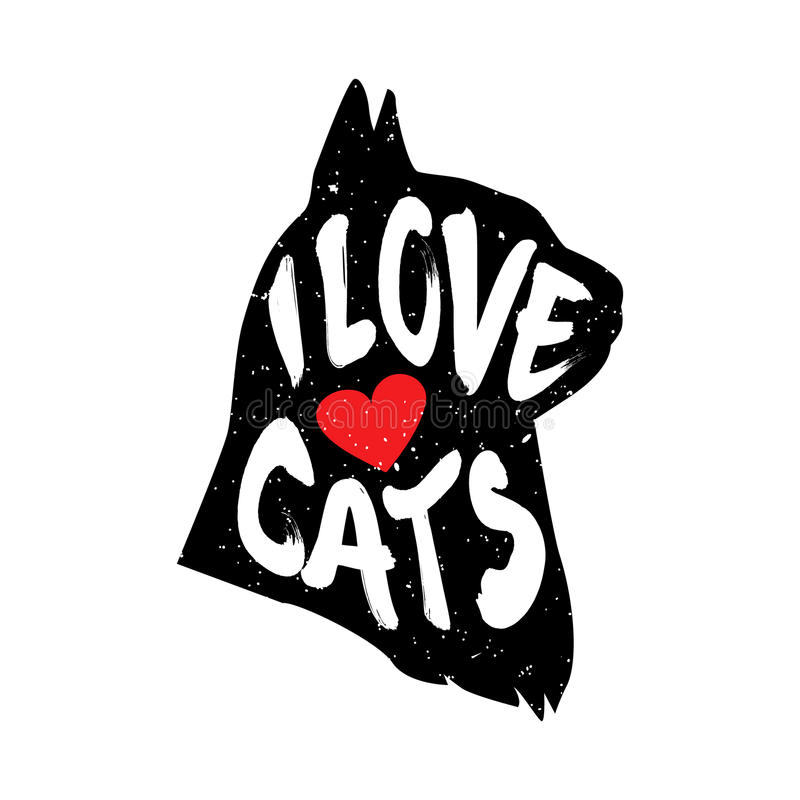 Download The Cat`s Head In Profile With Heart And Lettering Text I ...