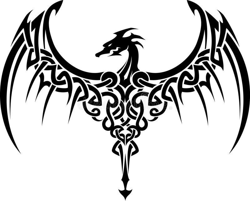 Celtic Dragon Tattoo Stock Illustration. Illustration Of