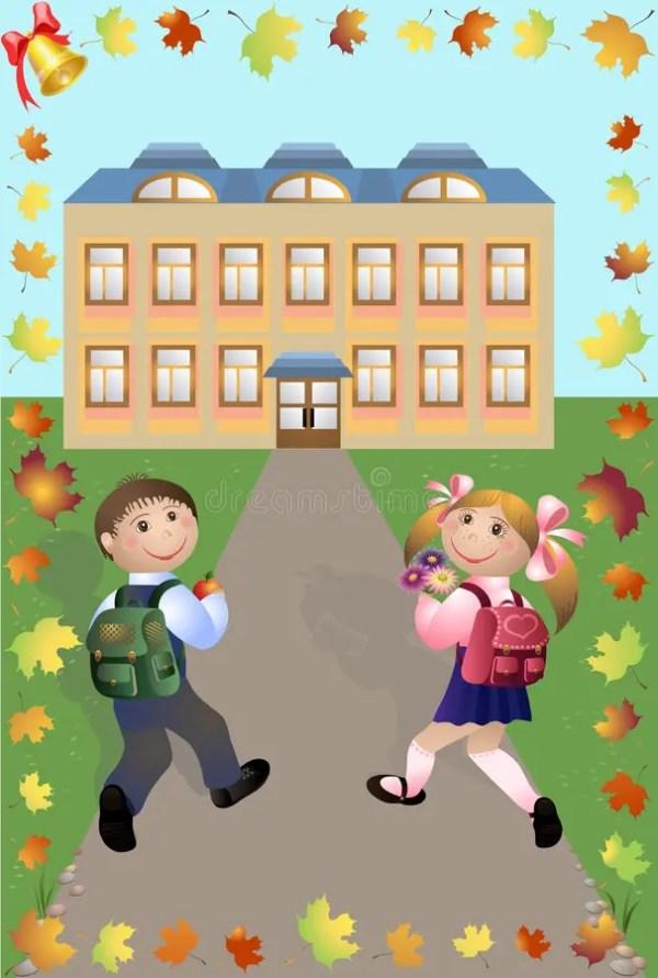 Children go in school stock vector. Illustration of ...