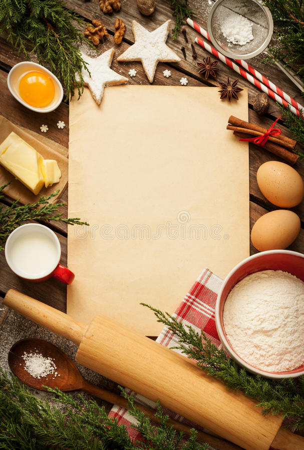 Christmas Baking Cake Background With Dough Ingredients Stock Photo Image 44790493