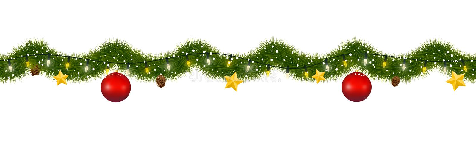 Christmas Garland Covered With Snow Stock Vector Illustration Of Vector Header 156890501