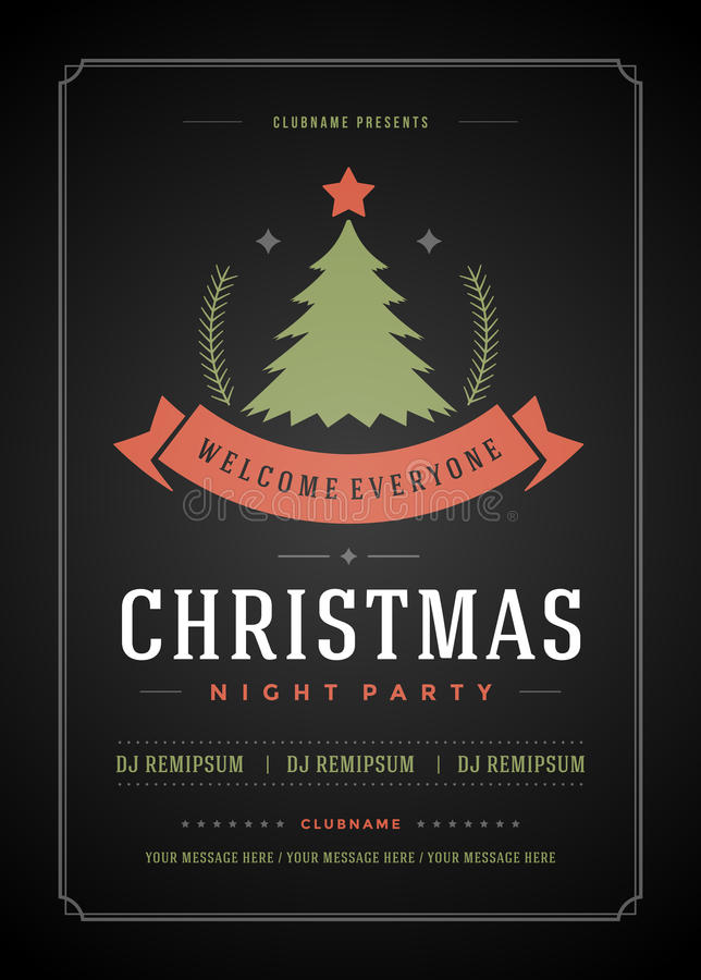 Christmas Party Invitation Retro Typography And Stock