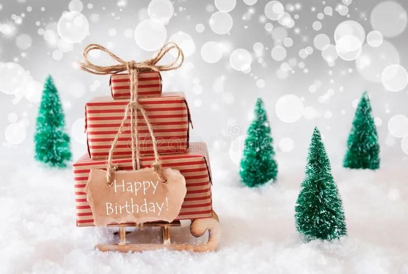 Christmas Sleigh On White Background Happy Birthday Stock