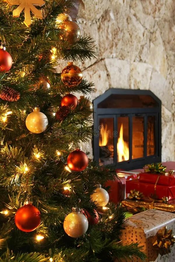 Christmas Tree And Fireplace Stock Image Image Of Flame