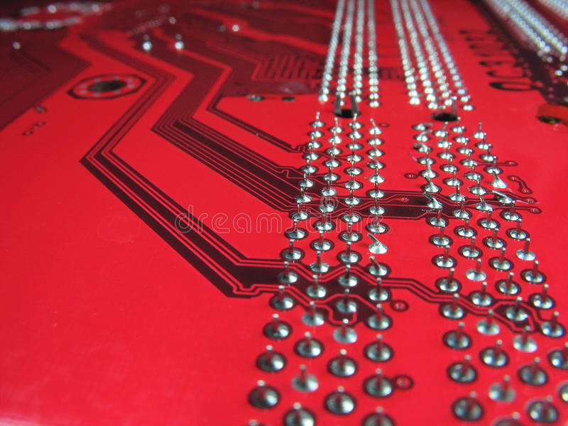 Close-up Of Computer Circuit Board Pattern Royalty Free