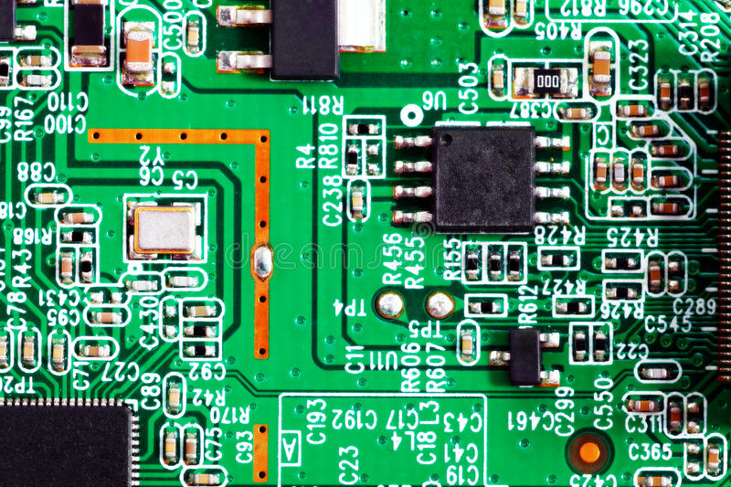 Close-up Of Electronic Circuit Board. Macro . Stock Photo