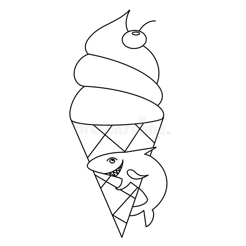 Coloring Page For Children With The Ice Cream And Shark Stock Illustration Illustration Of Cartoon Page 161786307
