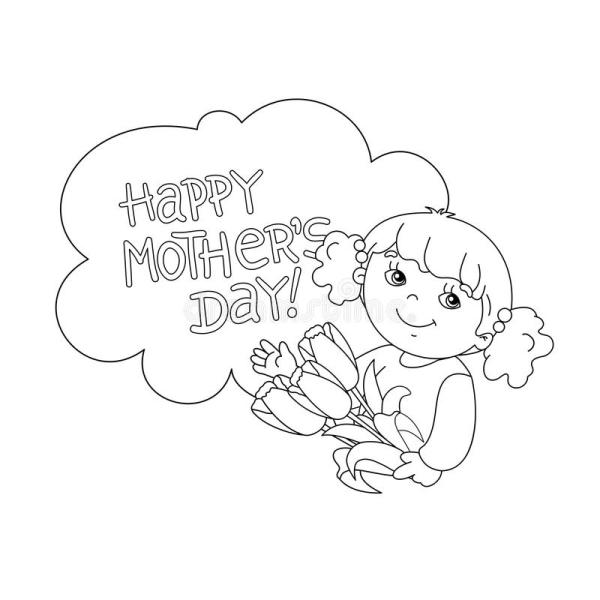 Coloring Page Outline Of Girl With Flowers. Mother's Day ...