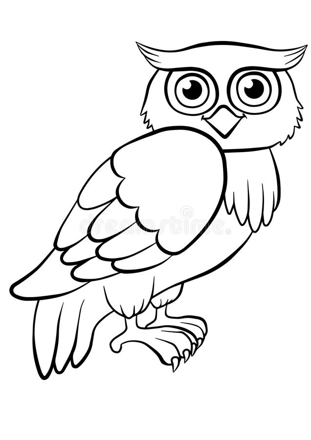 Coloring Pages Birds Cute Owl Stock Vector Illustration Of Kids Drawing 71205016