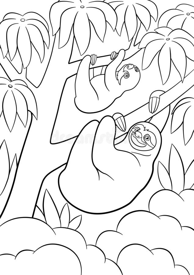 sloth coloring pages stock illustrations –  sloth