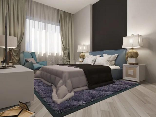 3D Render Interior Design Of A Modern Bedroom Stock ...