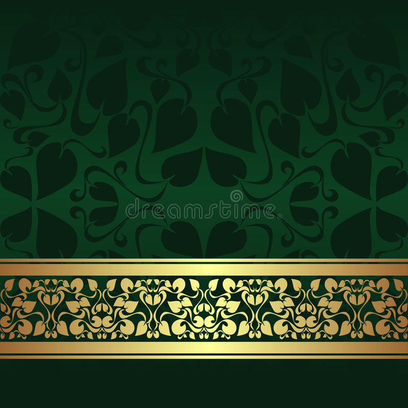 Dark Green Ornamental Background With Golden Ribbo Stock