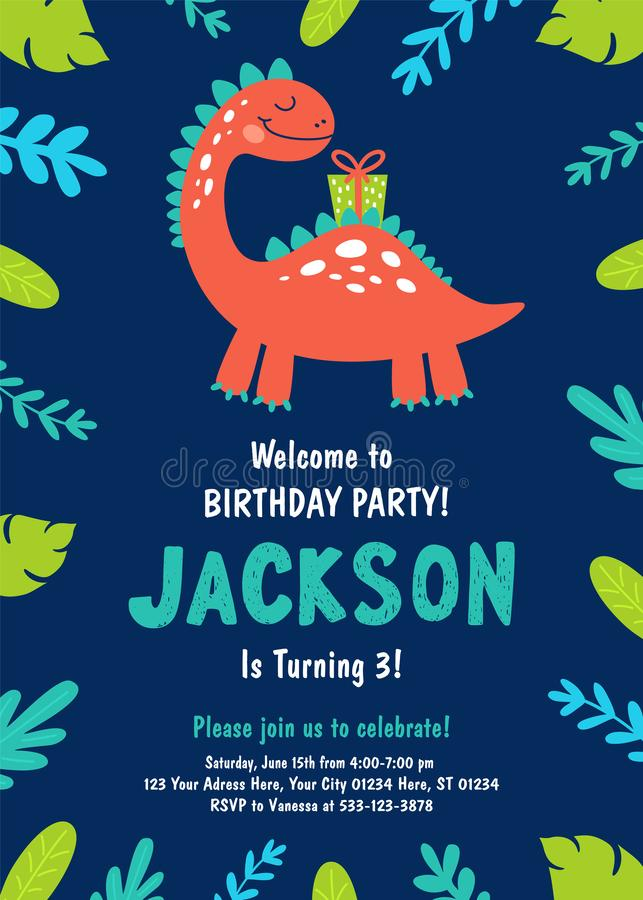 dinosaur invitation stock illustrations