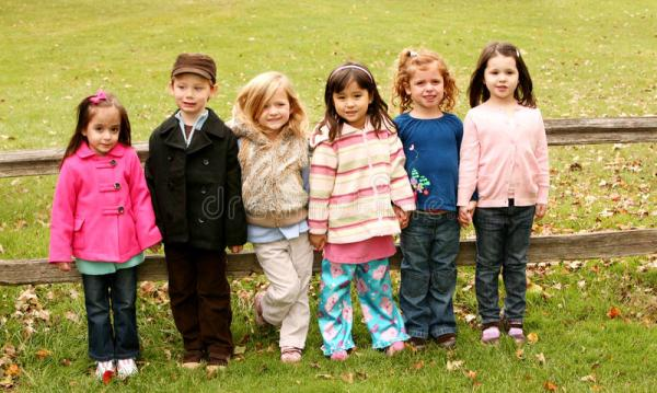 Diverse Group Of Little Kids Outside Stock Image - Image ...