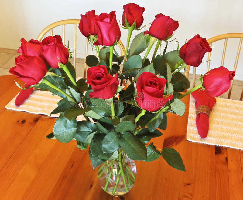 A Dozen Red Roses In A Crystal Vase Stock Photo Image