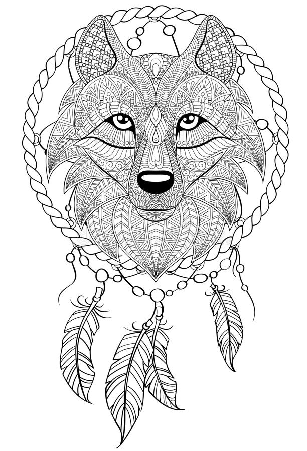 Dream Catcher With Wolf Tattoo Or Adult Antistress