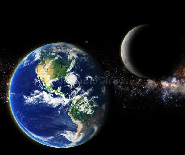 Earth And Moon In Galaxy Space Element Finished By Nasa