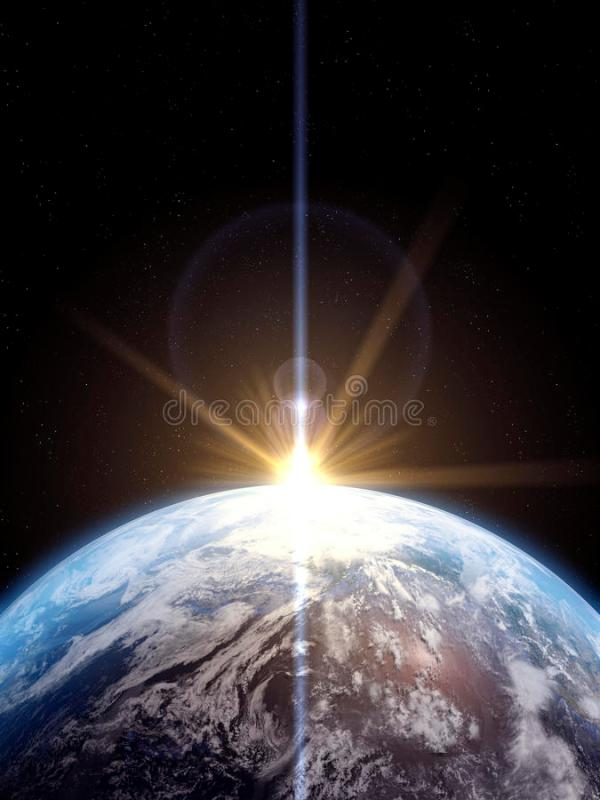 Earth With Sun Rising stock illustration. Illustration of ...