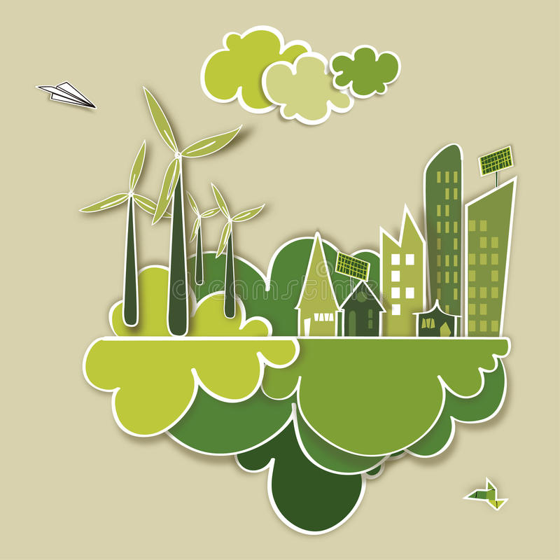 Go Green City Concept Stock Vector Illustration Of