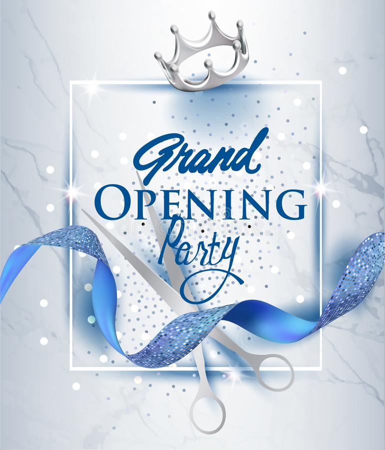 grand opening invitation card with blue