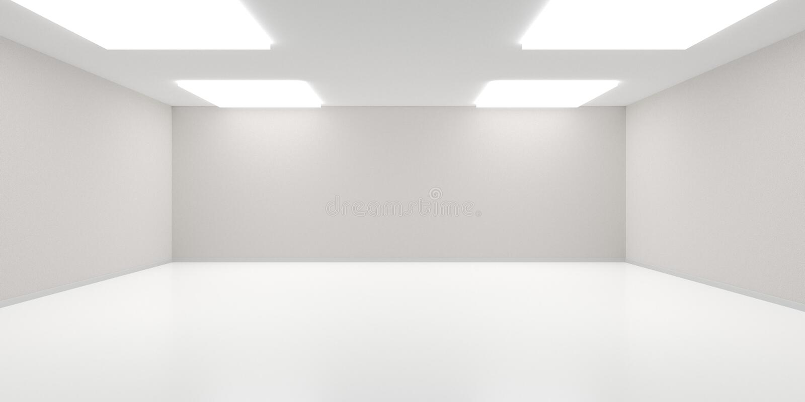 empty white room with lighting from the