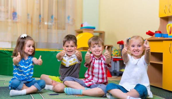 Excited Children Holding Thumbs Up Stock Image - Image ...
