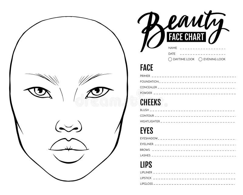 Face Chart Makeup Asian Stock
