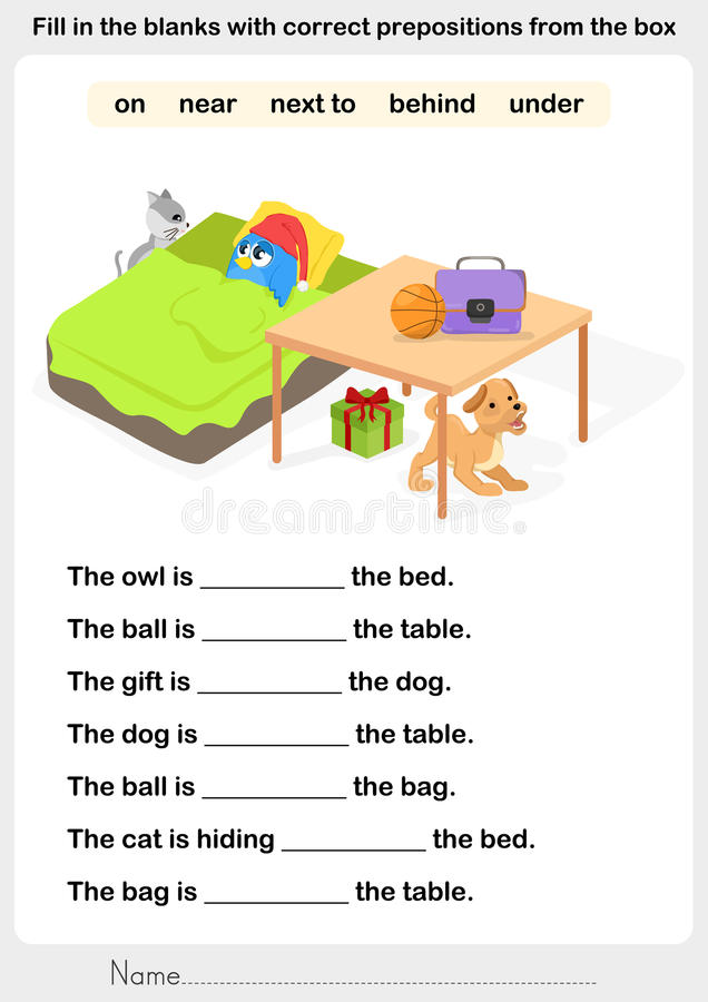 Fill In The Blanks With Correct Prepositions Stock Vector