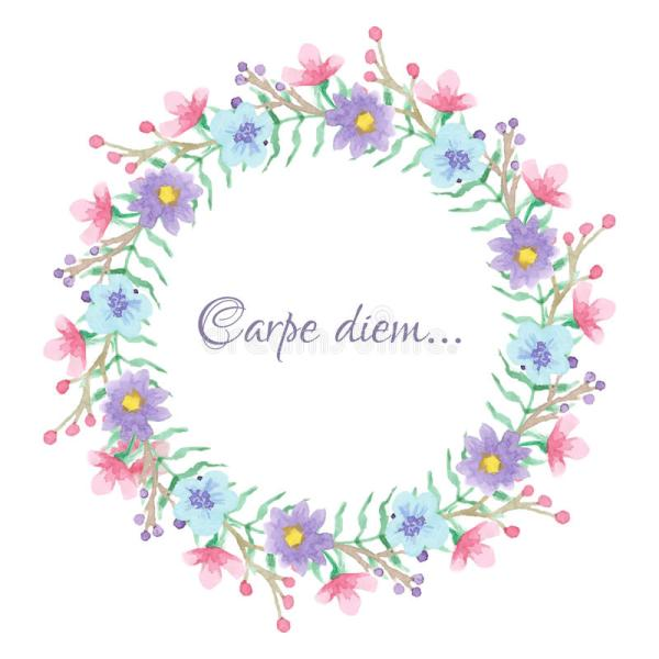 Floral Template With Carpe Diem Script Stock Vector ...