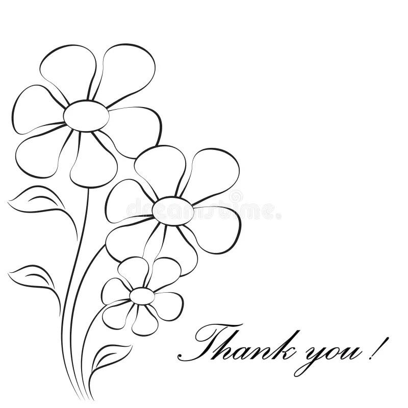 flower illustrations thank you card stock illustration