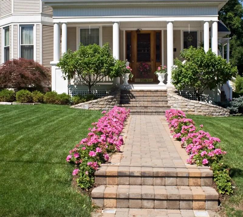 Flower Lined Sidewalk Stock Image Image Of Manicured