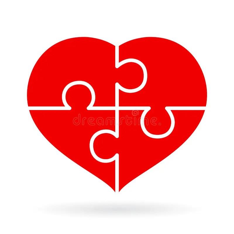 5 piece heart puzzle template
