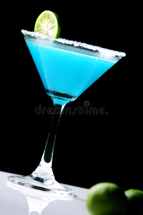 Frozen Blue Margarita Cocktail Isolated On Black Stock