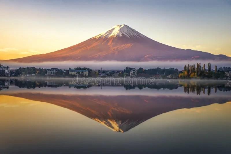 The road distance is 132 km. Fuji Mountain Reflection With Morning Mist At Sunrise Kawaguchiko Lake Japan Stock Image Image Of Morning Maple 166153213