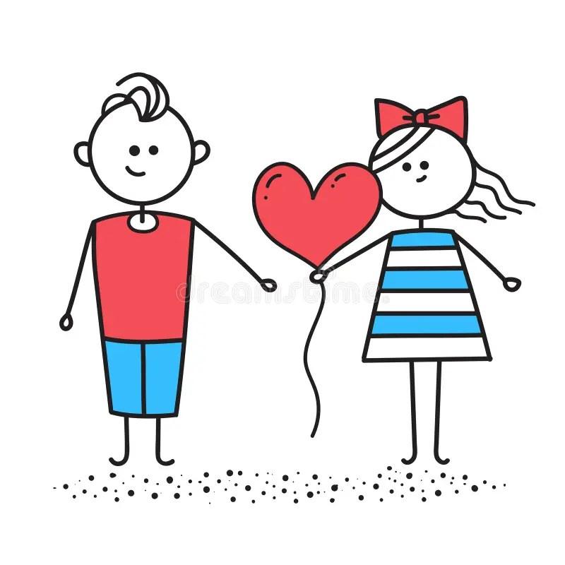 Download Girl And Boy Holding A Balloon Heart Vector Stock Vector ...