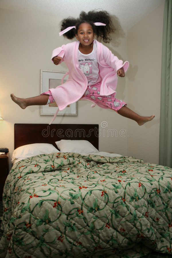 Girl Jumping On Bed Stock Image Image Of Indoor Jump