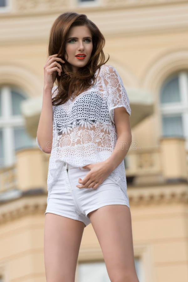 Girl In Summer Outdoor Fashion Shoot Stock Image - Image ...